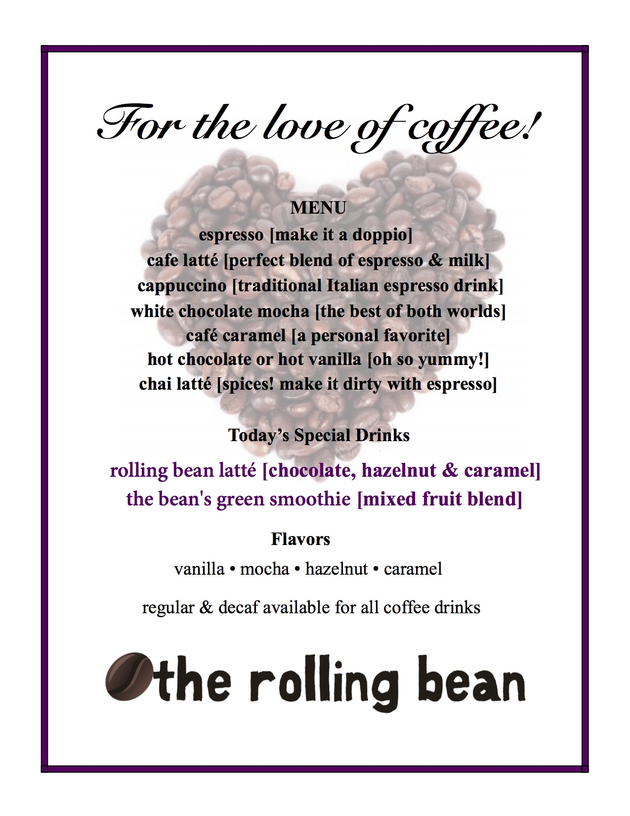 for the love of coffee_menu
